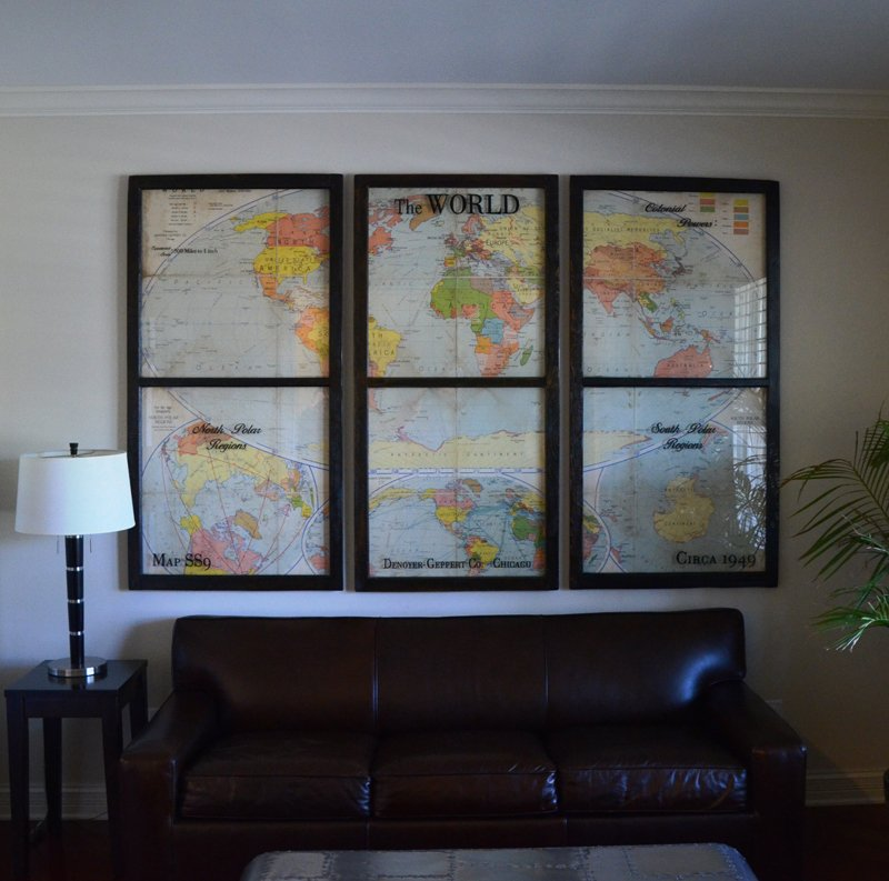 trypic map window art set vintage world map framed using three
