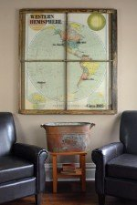 Vintage 1922 Western Hemisphere map window art
