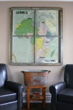 a Vintage Africa map window art circa 1920s