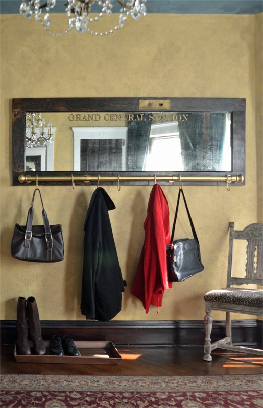 Wall mounted coat rack with mirror grand central station for Decorative door frame ideas