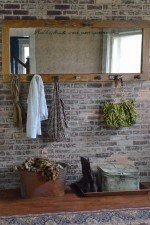 French Country Style Coat Rack with Mirror