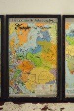 Vintage Europe map art - 3 piece set