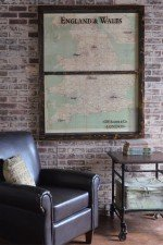 Vintage England and Wales map window art