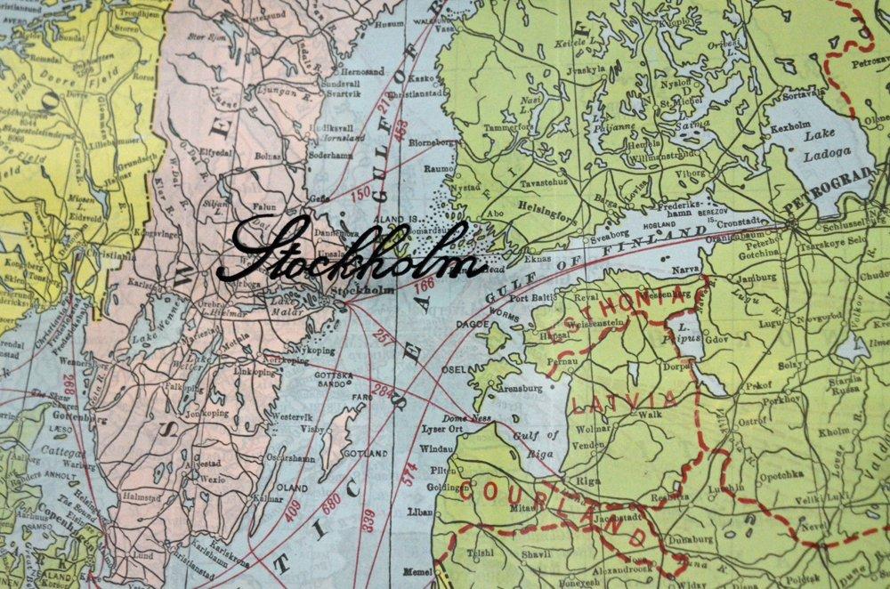 Vintage Map of Europe Art Vintage European map 1920s