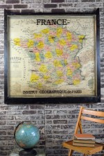Vintage map of France wall art