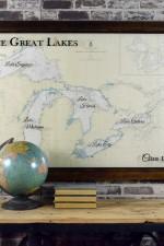 Vintage Great Lakes nautical chart wall art