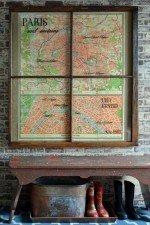 vintage Paris map window art