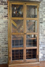 Wine storage cabinet made from architectural salvage