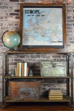 Reclaimed metal and wood bookshelf