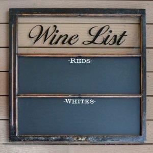 Wine List Chalkboard Window Art with magnetic chalkboard