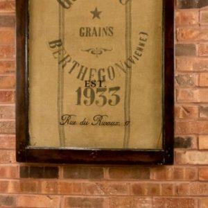 Window art with French Grain Sack