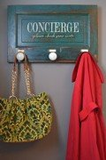 Wall mounted coat rack - vintage door coat rack with 3 knobs, green