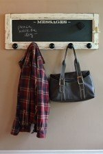 Wall mounted coat rack - vintage door coat rack with 5 knobs and chalkboard