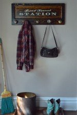 Wall Mounted Coat rack with 5 door knobs - stain finish, Grand Central Station