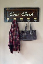 Wall mounted coat rack with 5 knobs - dark stain, Coat check