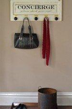 vintage door salvage coat rack - painted, black & glass knobs