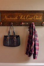 best golf gifts - golf themed coat rack with golf club hooks