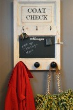 wall mounted coat rack - coat check organizer with chalkboard - painted