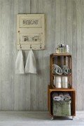 Bath towel rack with vintage faucets
