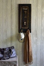 Wall mount key rack with two coat hooks
