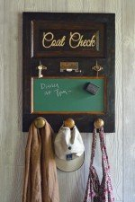 Coat rack with magnetic chalkboard, stained finish