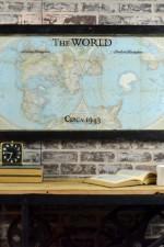Vintage world hemisphere map