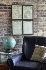 Metal Framed Map - window art with antique maps, framed in a metal window