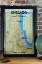 framed old 1950s Chicago map