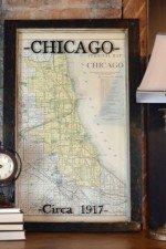 Old Chicago Map 1917 - window art - 20 x 31