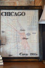 vintage Chicago map - 1930s road map 23 x 28