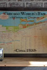 Framed map with Chicago World Fair 1933