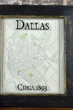 framed vintage Dallas map