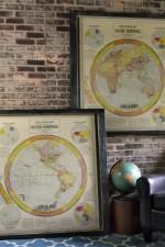 Vintage world hemisphere map set