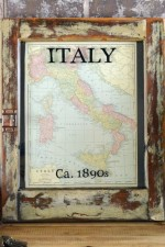 Framed antique Italy Map