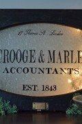Scrooge & Marley themed window art - oval