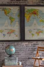 Vintage world map diptych