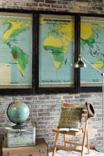 Vintage world map triptych