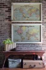 Large antique world map wall art - diptych set