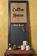 coffee house window chalkboard - blue stripe sack with black chalkboard