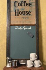 coffee house chalkboard window - green chalkboard, green printed sack