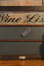 Wine chalkboard art - wine list window with stain frame, black chalkboard 33 x22