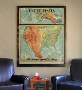1927 USA map window art