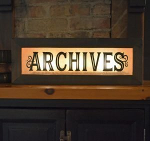 Vintage Style Lighted Archives Signs