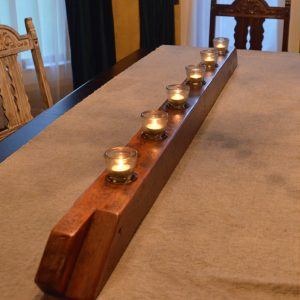 large barn bean candle holder with natural finish, clear glass cups, and hand painted numbers
