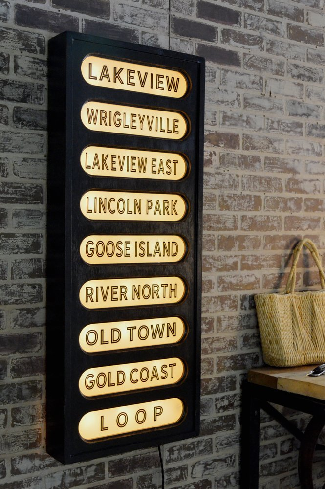 Vintage Style Train Station Sign - Wood and Glass back lit sign inspired by  train stations - Chicago neighborhoods
