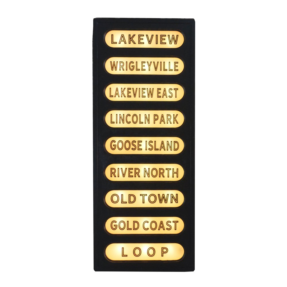 Vintage Style Train Station Sign - Wood and Glass back lit sign ...