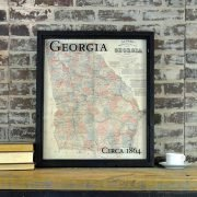 Framed vintage state maps