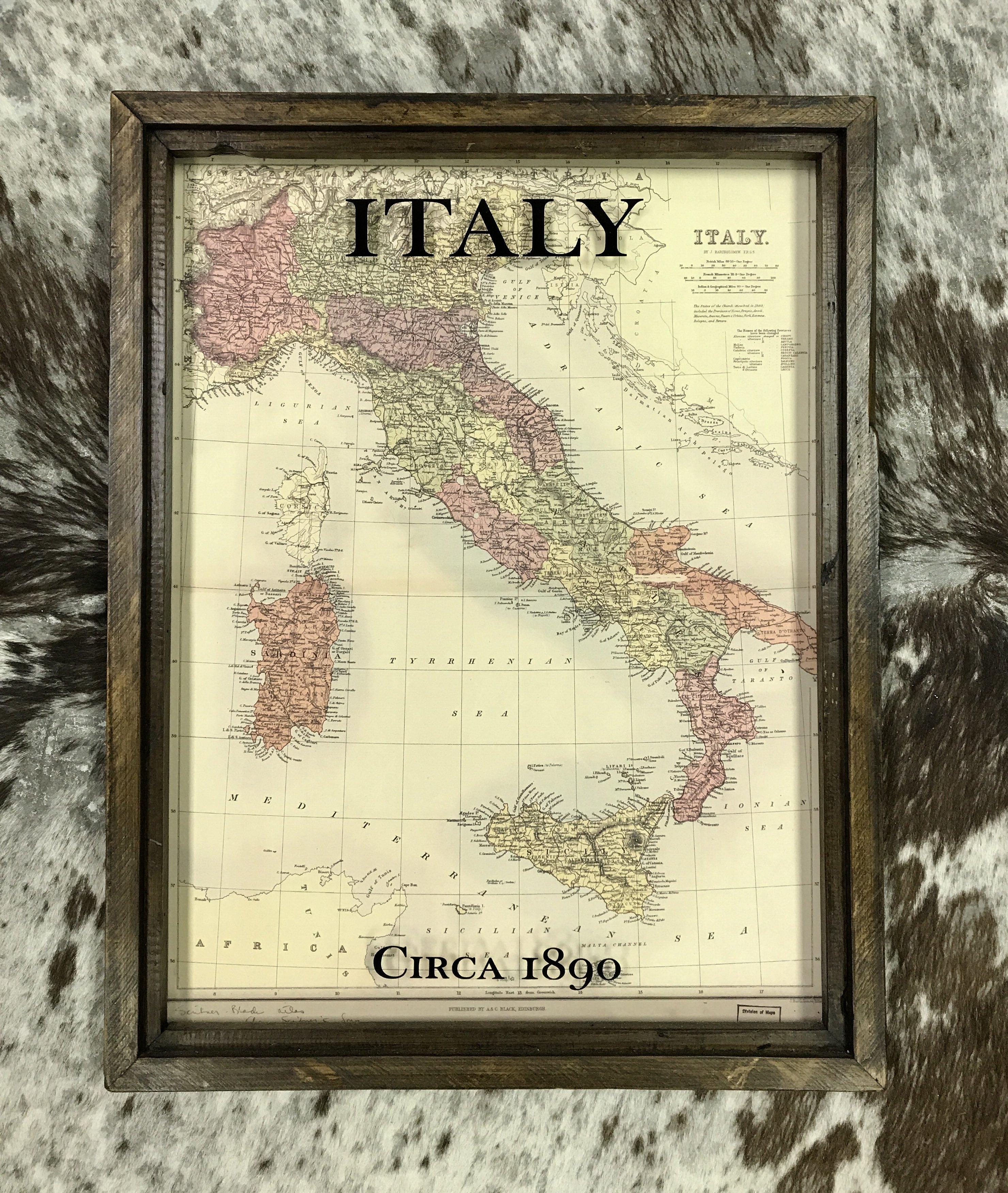 Framed Antique Italy Map, circa 1890 - framed in reclaimed barn wood ...