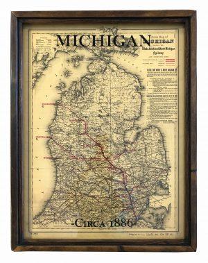 antique Michigan map