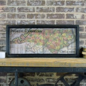 Framed vintage state map